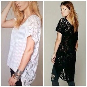Free People Tops - ❗️ Free People Sz S Black High Low Lace Blouse